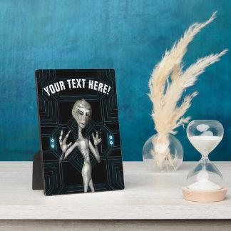 Grey Alien Sci-Fi Geek Plaque