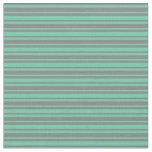 [ Thumbnail: Grey and Aquamarine Stripes/Lines Pattern Fabric ]