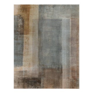 Grey and Beige Abstract Art Poster