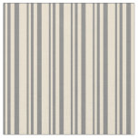 [ Thumbnail: Grey and Beige Colored Lined Pattern Fabric ]