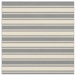 [ Thumbnail: Grey and Beige Colored Striped/Lined Pattern Fabric ]
