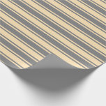 [ Thumbnail: Grey and Beige Colored Striped/Lined Pattern Wrapping Paper ]