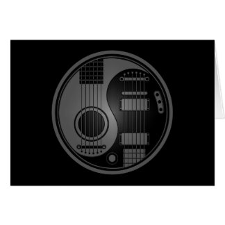 Grey and Black Acoustic Electric Guitars Yin Yang Card