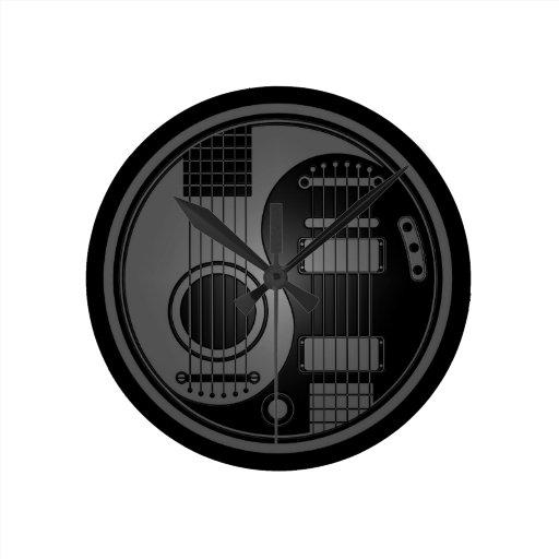 Grey and Black Acoustic Electric Guitars Yin Yang Clock