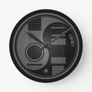 Grey and Black Acoustic Electric Guitars Yin Yang Round Clock