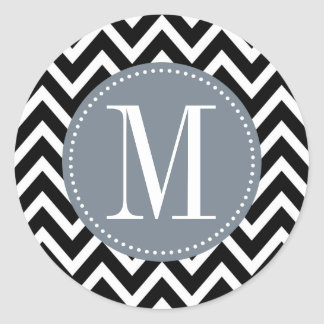 Grey and Black Chevron Custom Monogram Classic Round Sticker