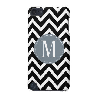 Grey and Black Chevron Custom Monogram iPod Touch (5th Generation) Cases
