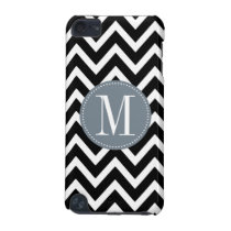 Grey and Black Chevron Custom Monogram iPod Touch (5th Generation) Cover