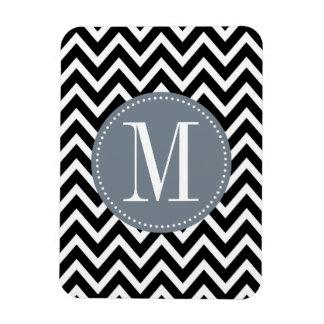 Grey and Black Chevron Custom Monogram Magnet