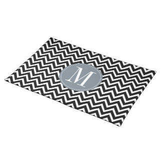 Grey and Black Chevron Custom Monogram Placemat