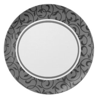 Grey and Black Floral Embellished Party Plate