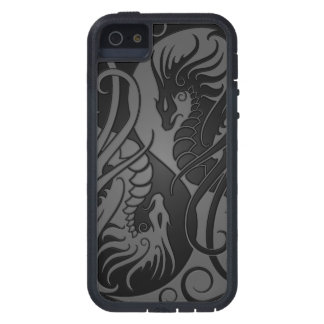 Grey and Black Flying Yin Yang Dragons Case For iPhone SE/5/5s