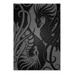 "Grey and Black Flying Yin Yang Dragons 3.5"" X 5"" Invitation Card"