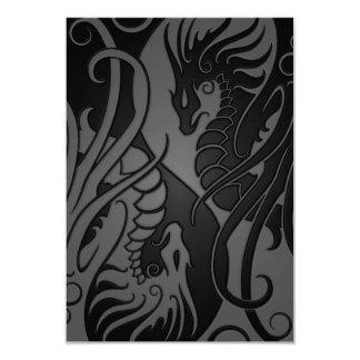 Grey and Black Flying Yin Yang Dragons 3.5x5 Paper Invitation Card