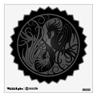 Grey and Black Flying Yin Yang Dragons Wall Decal