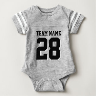 Grey and Black Football Jersey Sports Baby Romper