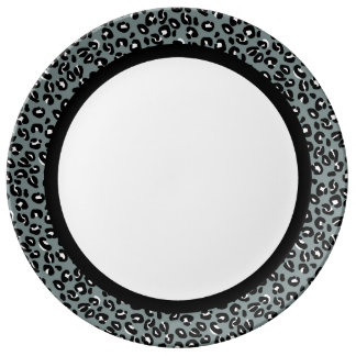 Grey and Black Leopard with Black Band on White Dinner Plate