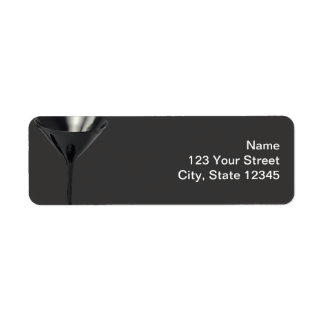 Grey and Black Martini Glass Business Label