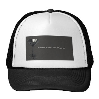 Grey and Black Martini Glass Business Trucker Hat