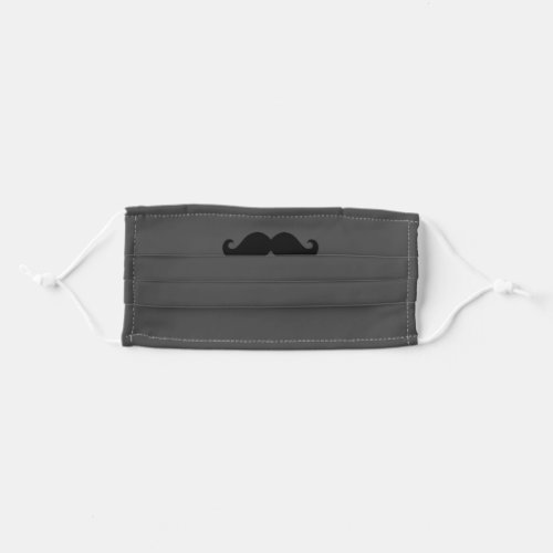 Grey and Black Mustache Cloth Face Mask