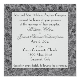 Grey and Black Paisley Wedding Invitiation Card