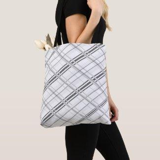 Grey and Black Plaid Tote Bag
