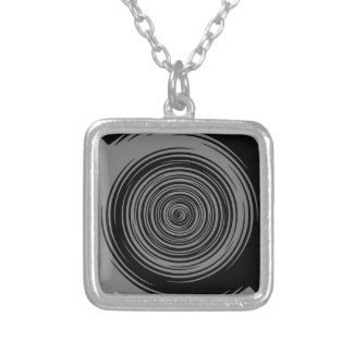 Grey and Black Sharp Spiral Silver Plated Necklace