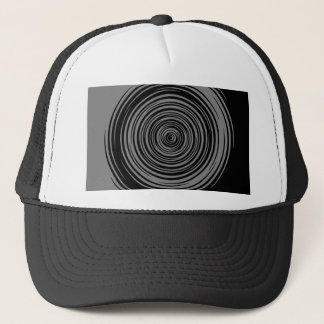 Grey and Black Sharp Spiral Trucker Hat