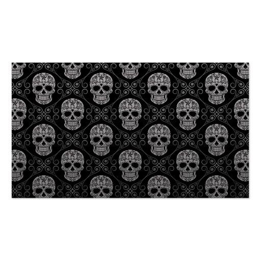 Grey and Black Sugar Skull Pattern Business Card