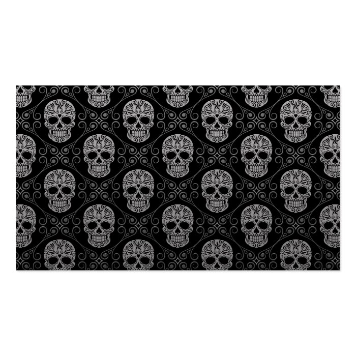 Grey and Black Sugar Skull Pattern Business Card