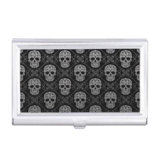 Grey and Black Sugar Skull Pattern Business Card Holder