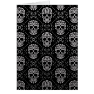 Grey and Black Sugar Skull Pattern Greeting Cards