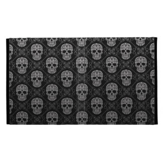 Grey and Black Sugar Skull Pattern iPad Folio Cases