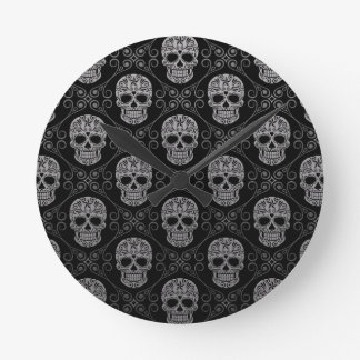 Grey and Black Sugar Skull Pattern Round Wallclock