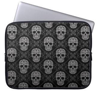 Grey and Black Sugar Skull Pattern Computer Sleeve