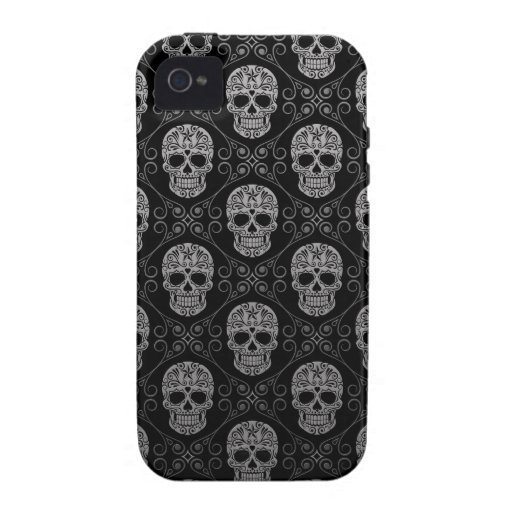 Grey and Black Sugar Skull Pattern iPhone 4/4S Cover