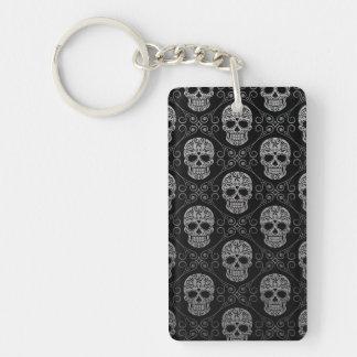 Grey and Black Sugar Skull Pattern Double-Sided Rectangular Acrylic Keychain