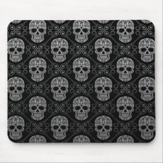 Grey and Black Sugar Skull Pattern Mousepads