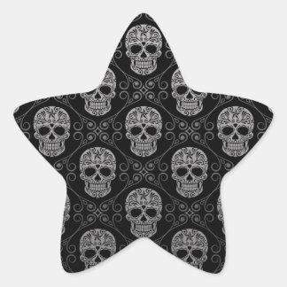 Grey and Black Sugar Skull Pattern Star Sticker