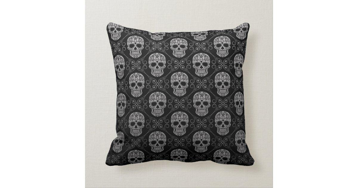 Decorative Pillows Black And Grey : Grey and Black Sugar Skull Pattern Throw Pillow Zazzle