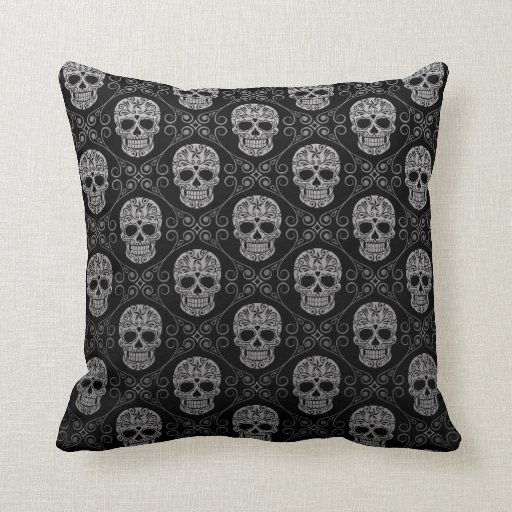 Grey and Black Sugar Skull Pattern Throw Pillows Zazzle