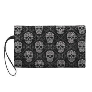Grey and Black Sugar Skull Pattern Wristlet Purse
