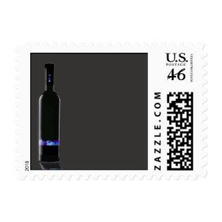 Grey and Black Wine Bottle Business Postage Stamp