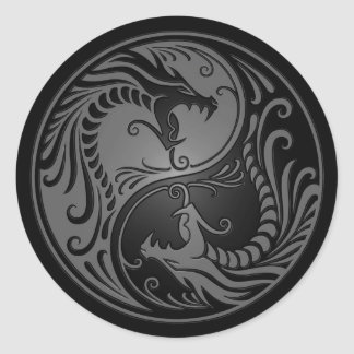 Grey and Black Yin Yang Dragons Classic Round Sticker