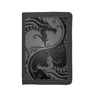 Grey and Black Yin Yang Dragons Trifold Wallets