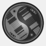 Grey and Black Yin Yang Guitars Round Sticker