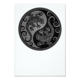 Grey and Black Yin Yang Lizards Card