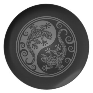 Grey and Black Yin Yang Lizards Dinner Plates