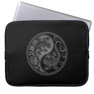 Grey and Black Yin Yang Lizards Computer Sleeve