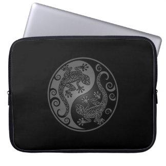 Grey and Black Yin Yang Lizards Laptop Computer Sleeves